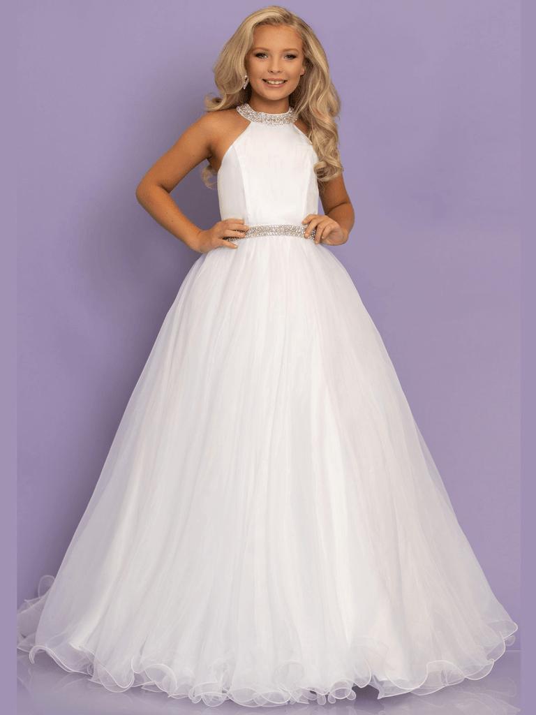 White Ball Gown Sugar Kayne C114 Little Girl Pageant Dress