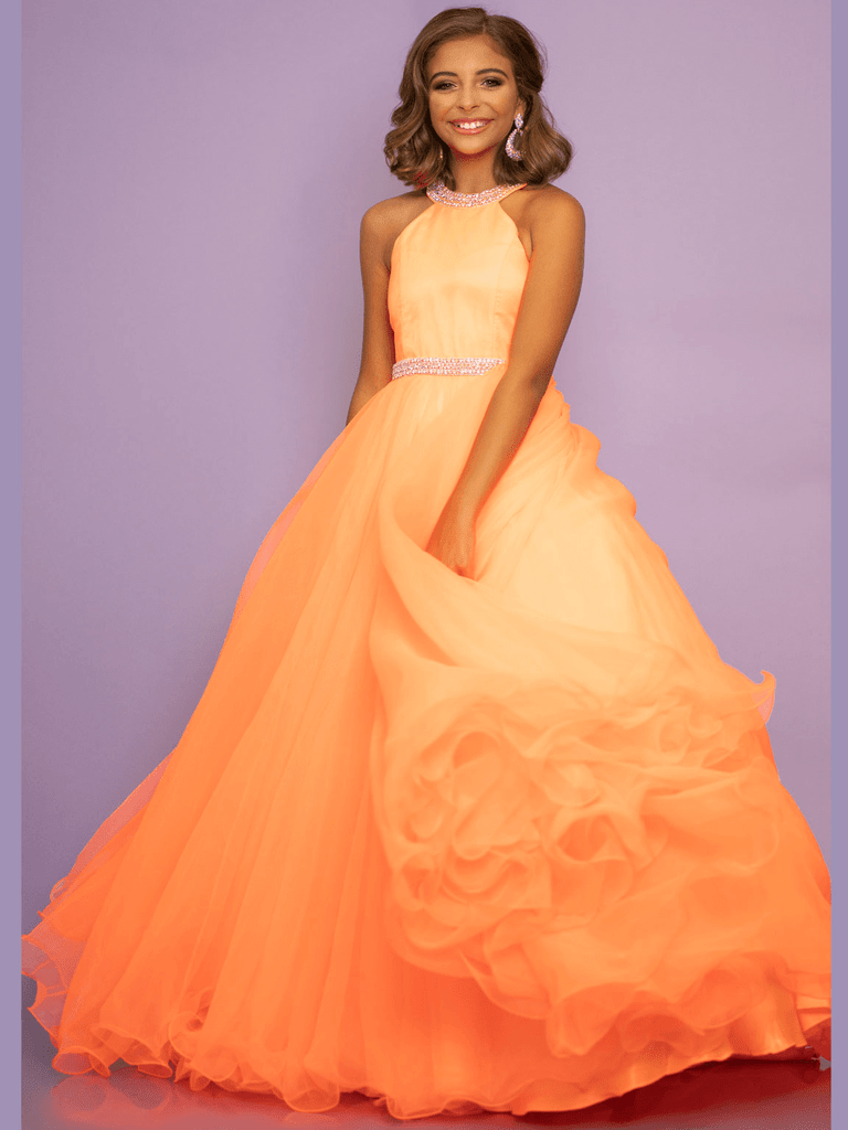 High Neckline Girls Pageant Dress Sugar Kayne C114