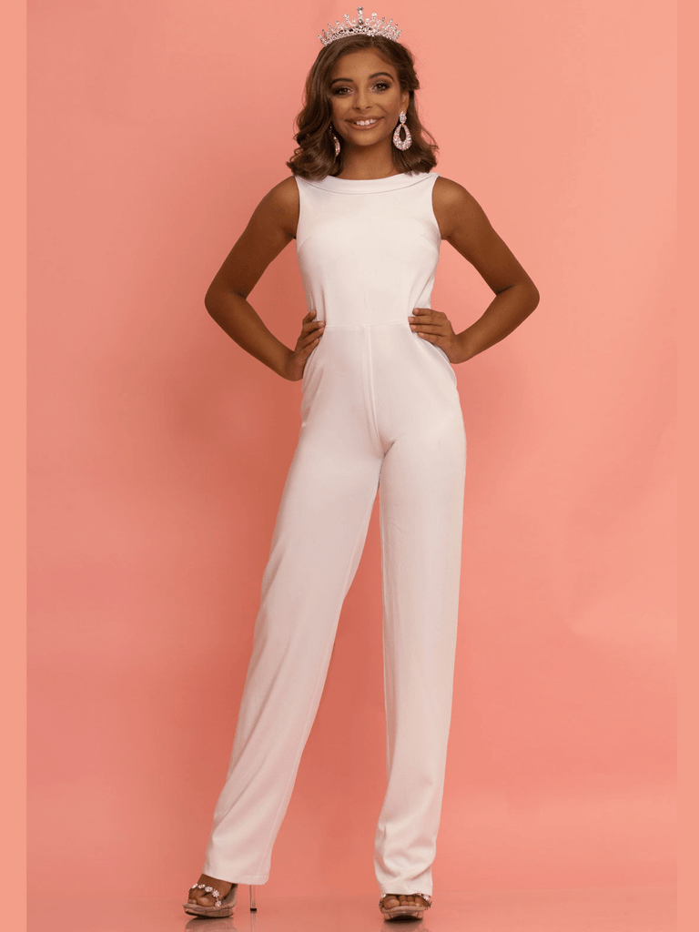 white pageant jumpsuit for preteens
