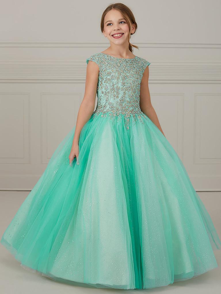 Cap Sleeves Tiffany Princess 13647 Pageant Dress