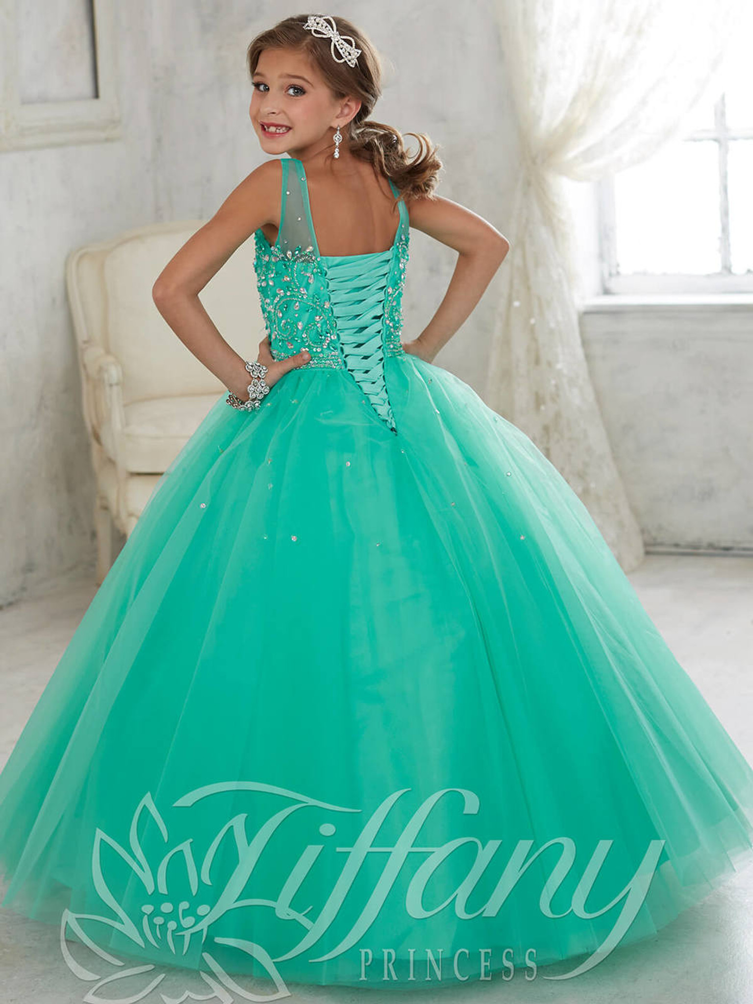 Illusion Neckline Girls Pageant Gown Tiffany Princess 13442