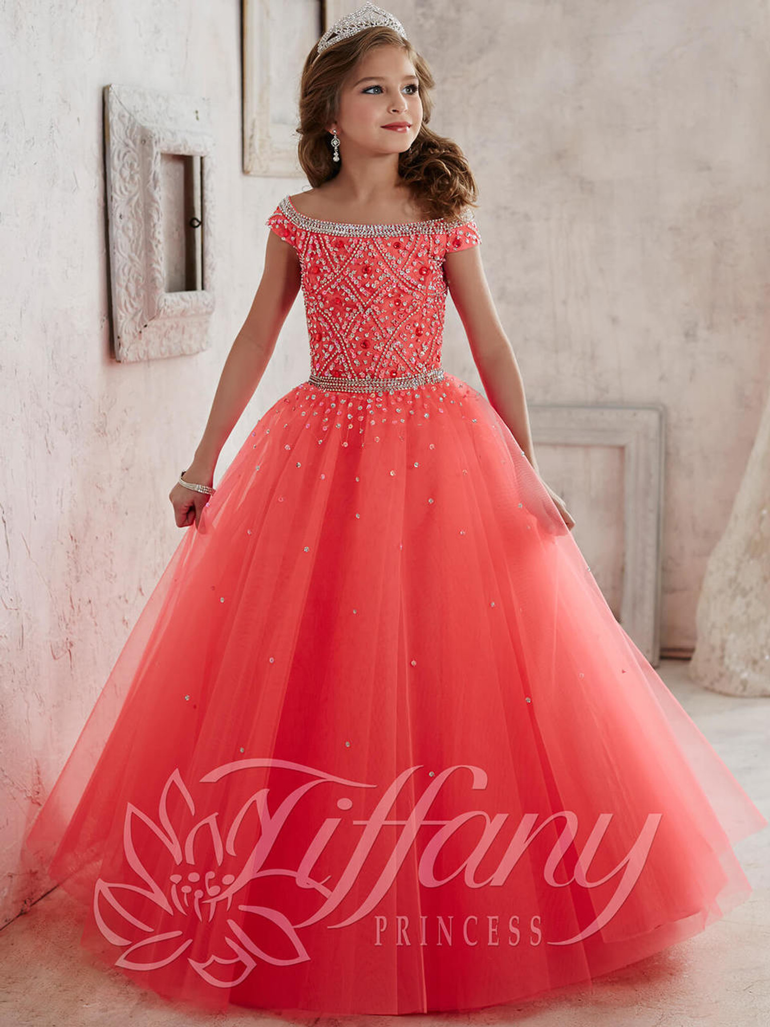 Tulle Pageant Dress by Tiffany Princess 13458