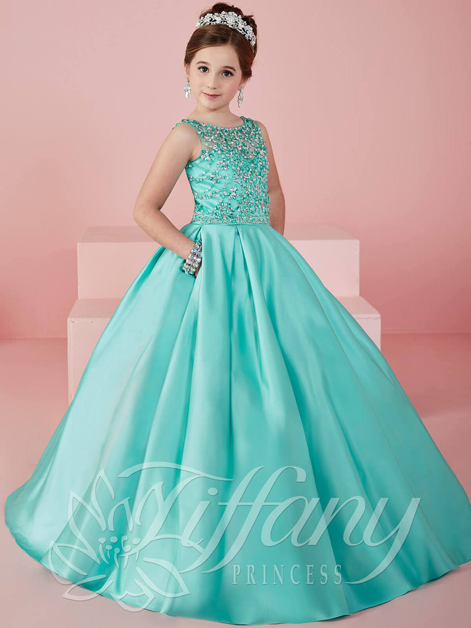 Satin Ball Gown Tiffany Princess Pageant Dress 13472
