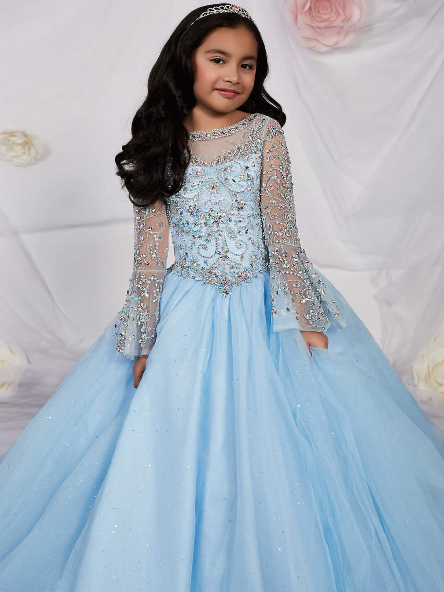 Beaded Bell Sleeves Pageant Gown by Tiffany Princess 13531