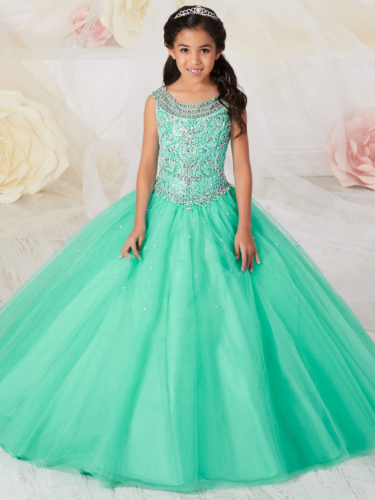 Bright aqua scoop neckline tiffany princess 13537 girls pageant dress