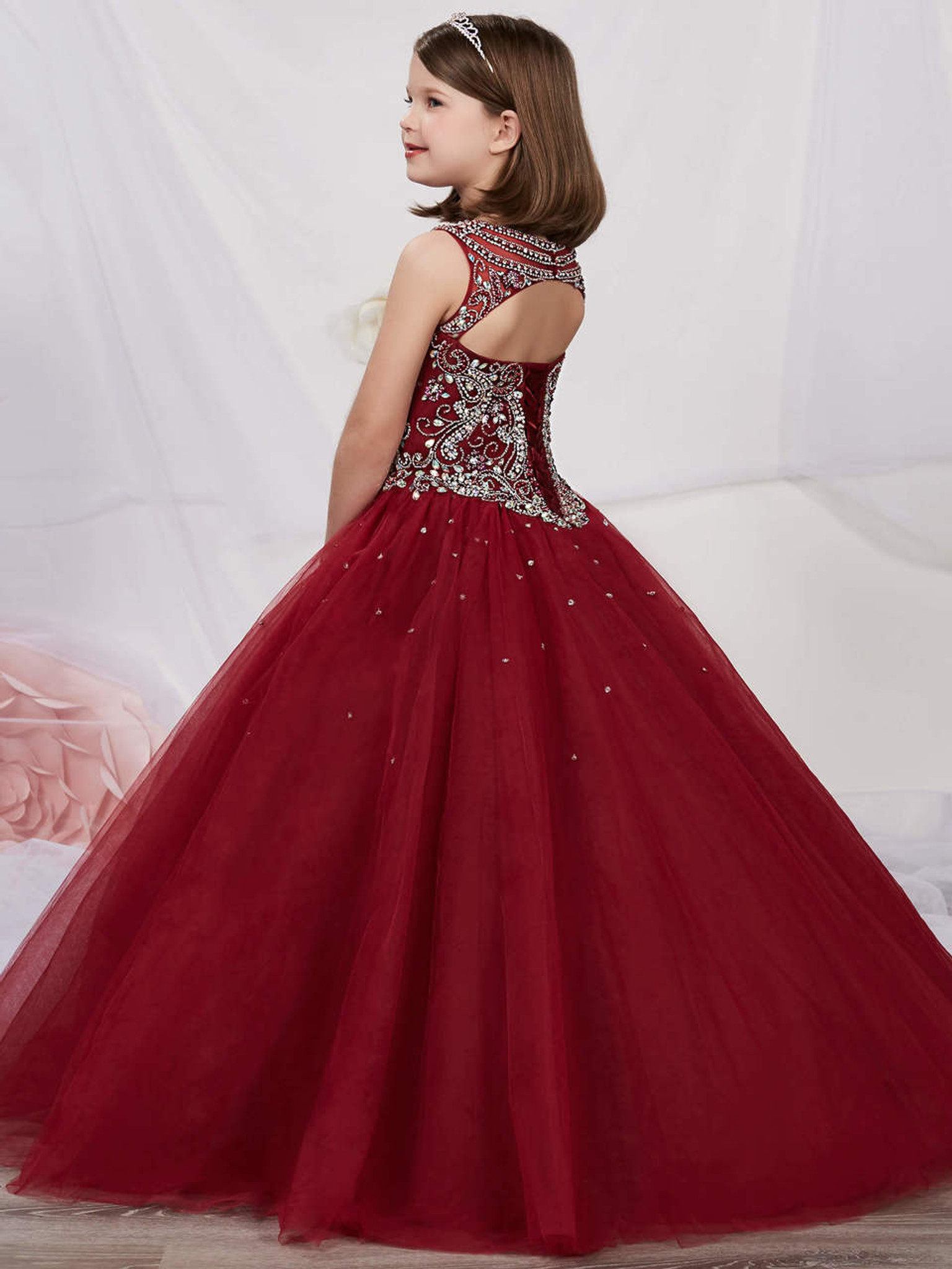 Beaded Tulle Girls Pageant Dress Tiffany Princess 13537
