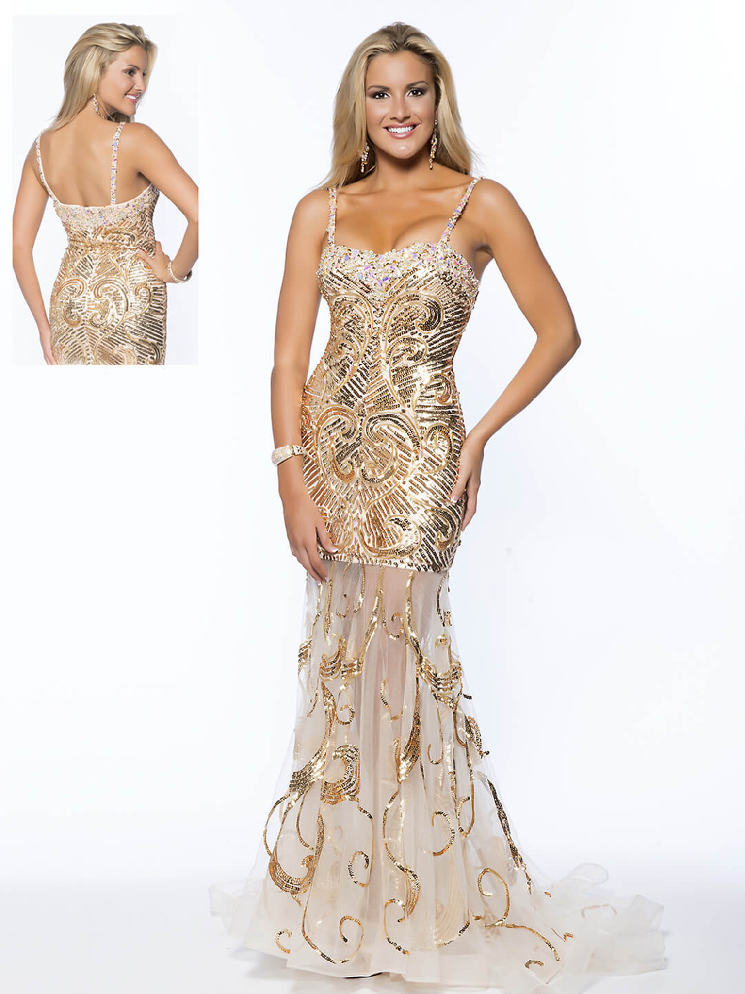 gold sequined pageant dress vienna fl048 on sale size 4