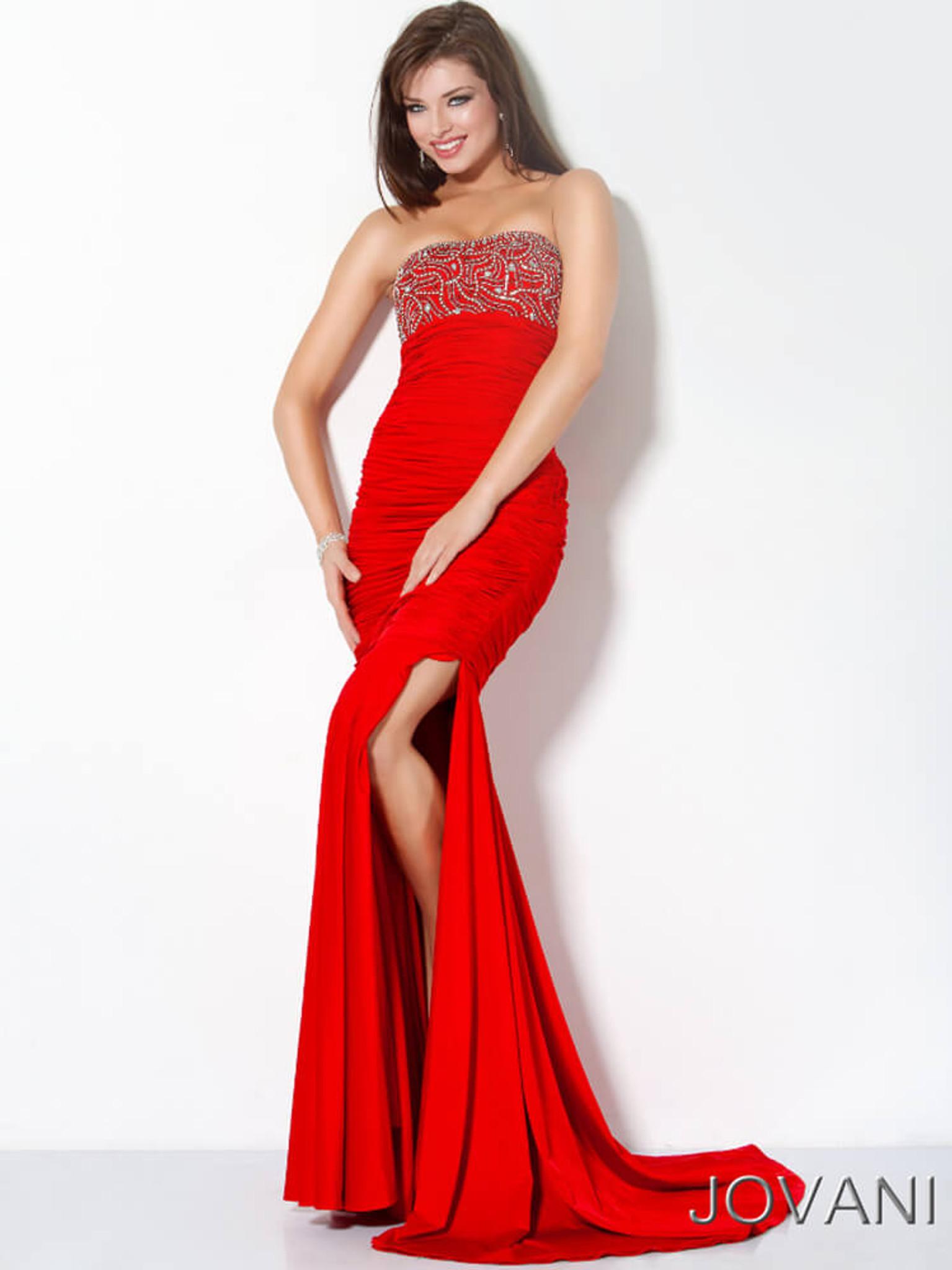 red jersey evening dress jovani 172033