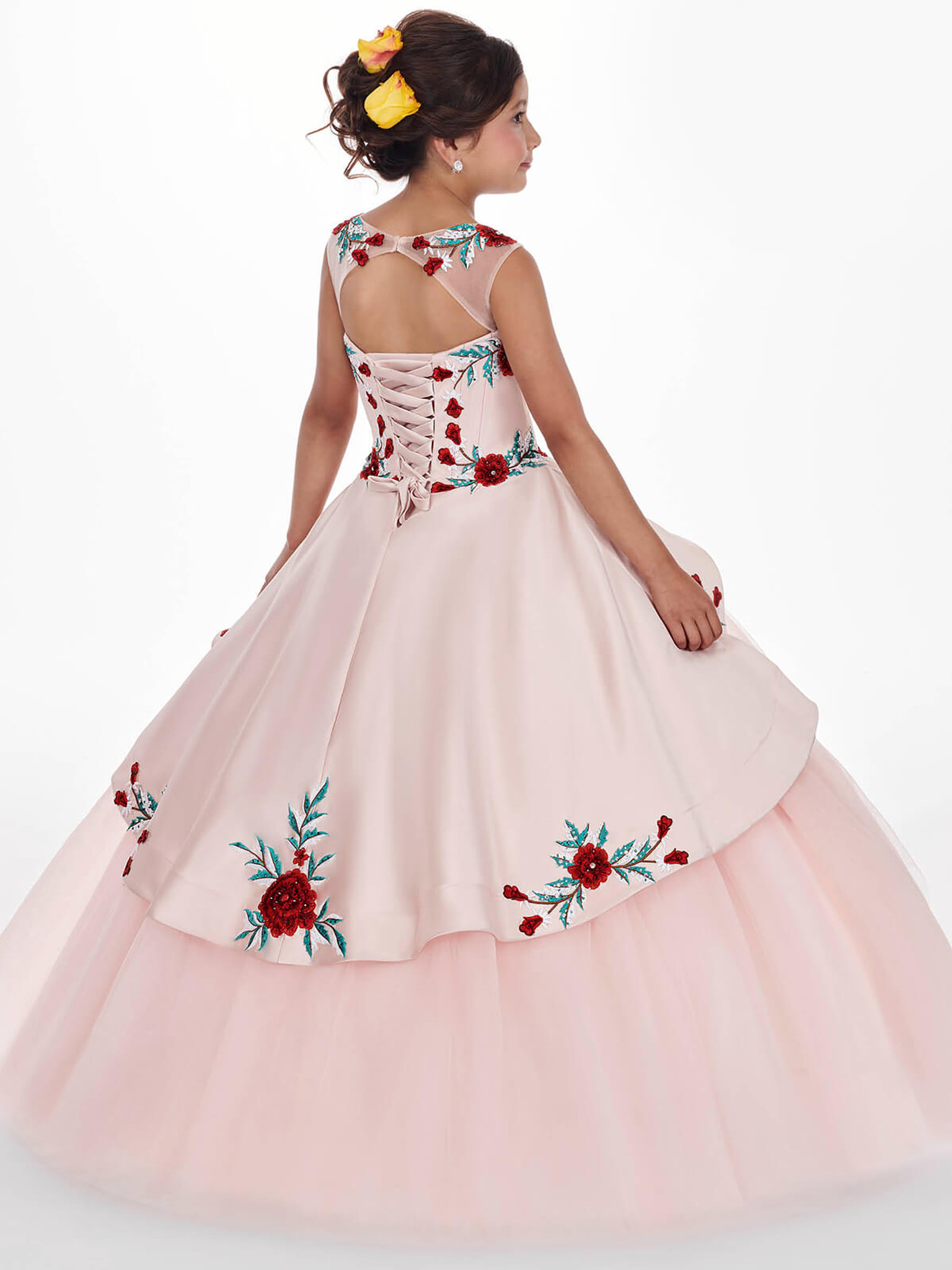 blush with red embroidery roses dress for girls marys MQ4009