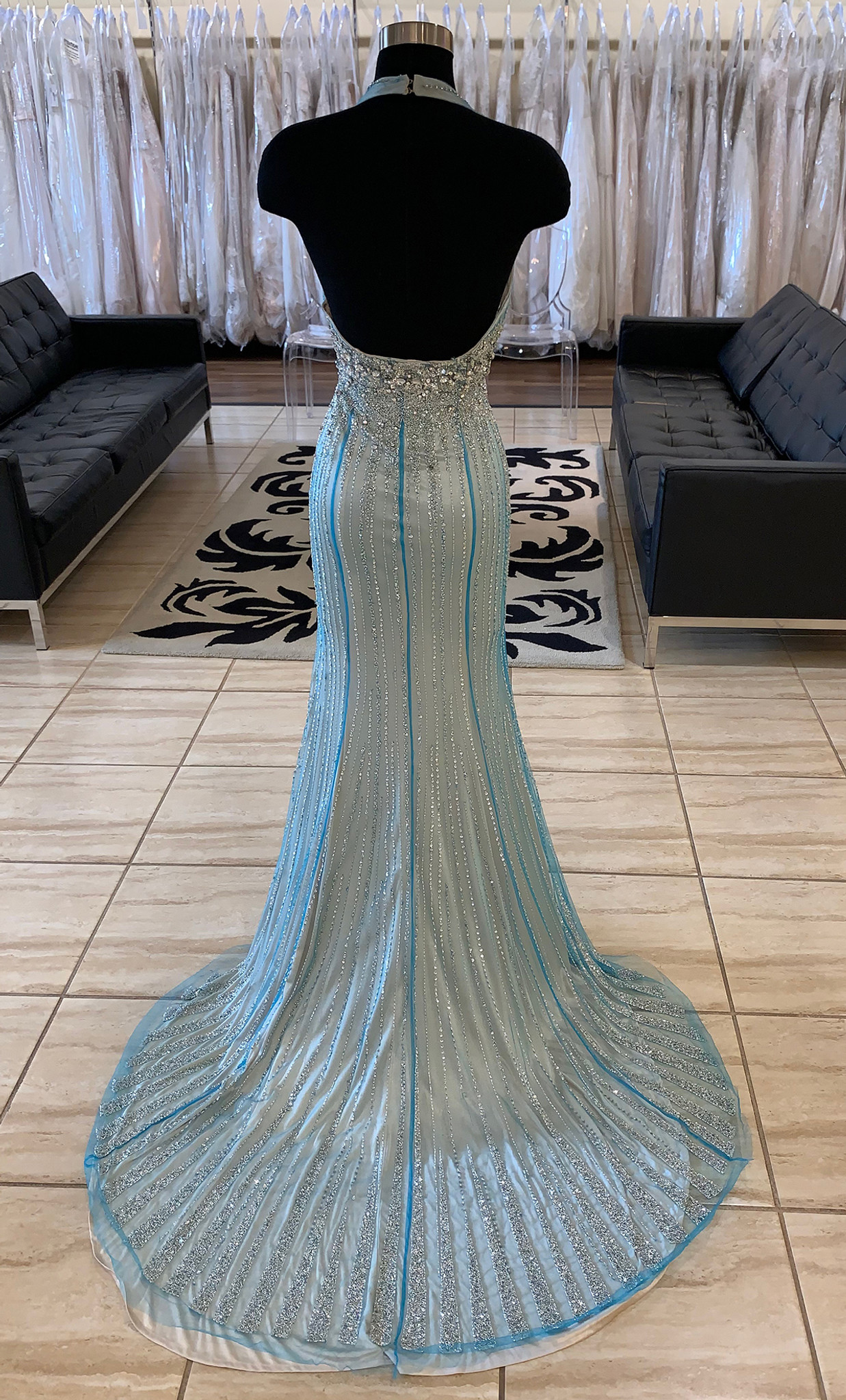 turquoise nude pageant dress all beaded prima donna 5385