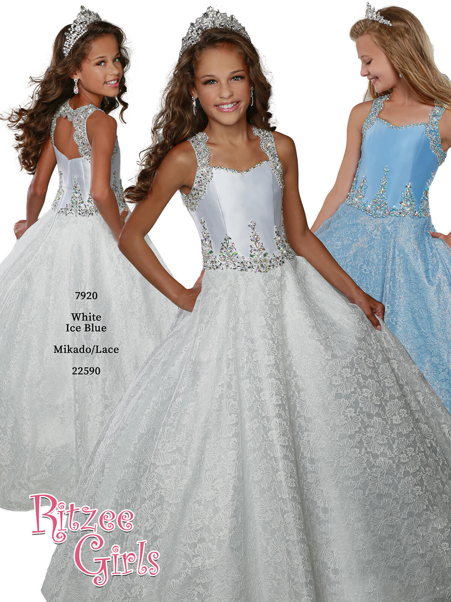 Ball Gown Ritzee Girls 7920 Pageant Dress PageantDesigns