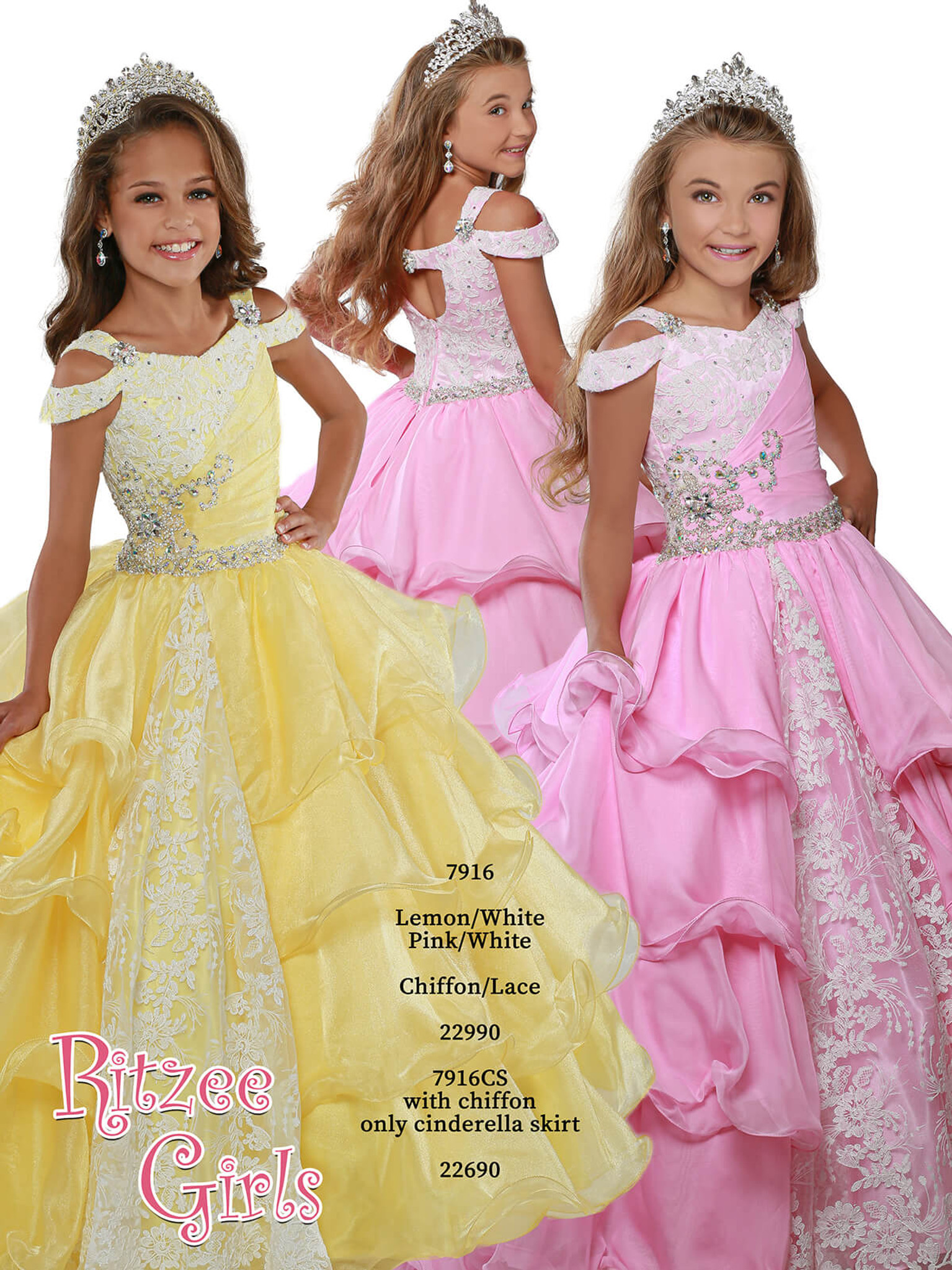 Ball Gown Ritzee Girls 7916 Pageant Dress PageantDesigns
