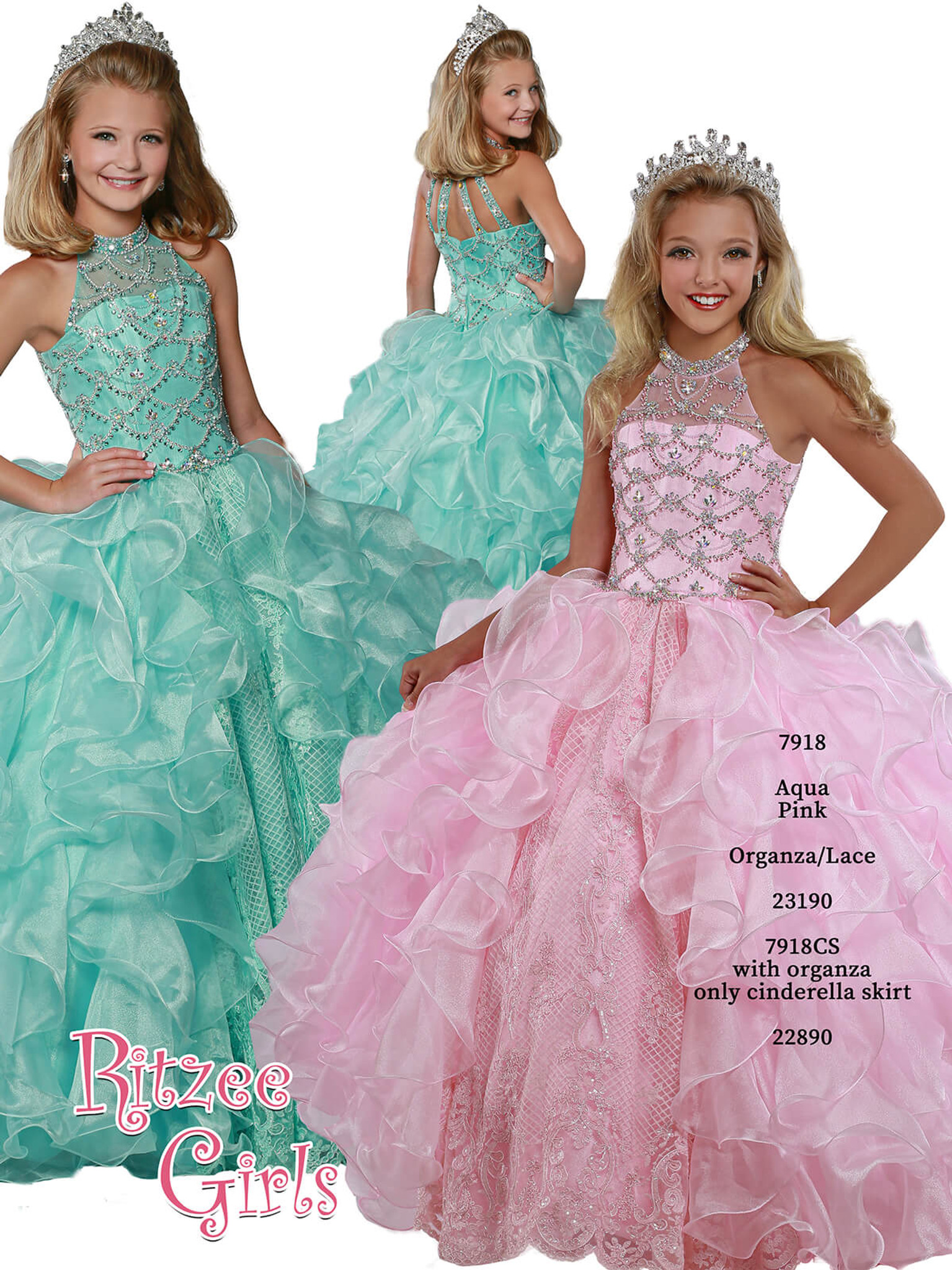 Ball Gown Ritzee Girls 7918 Pageant Dress PageantDesigns