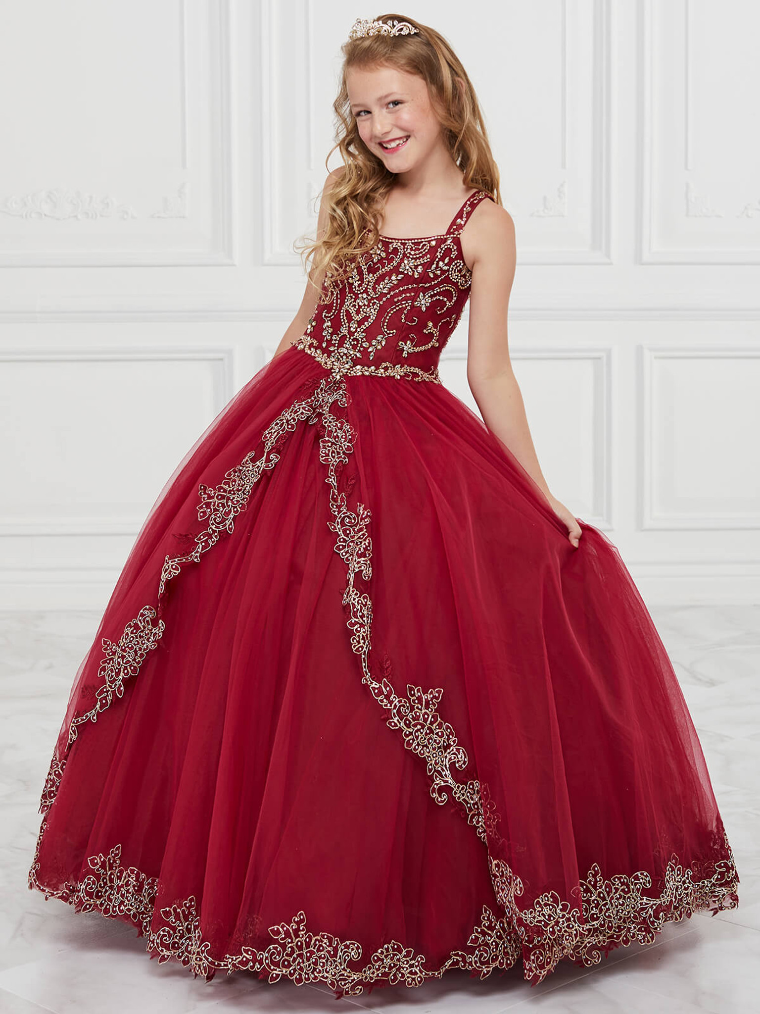 Tulle Neckline Tiffany Princess 13600 Pageant Dress PageantDesigns