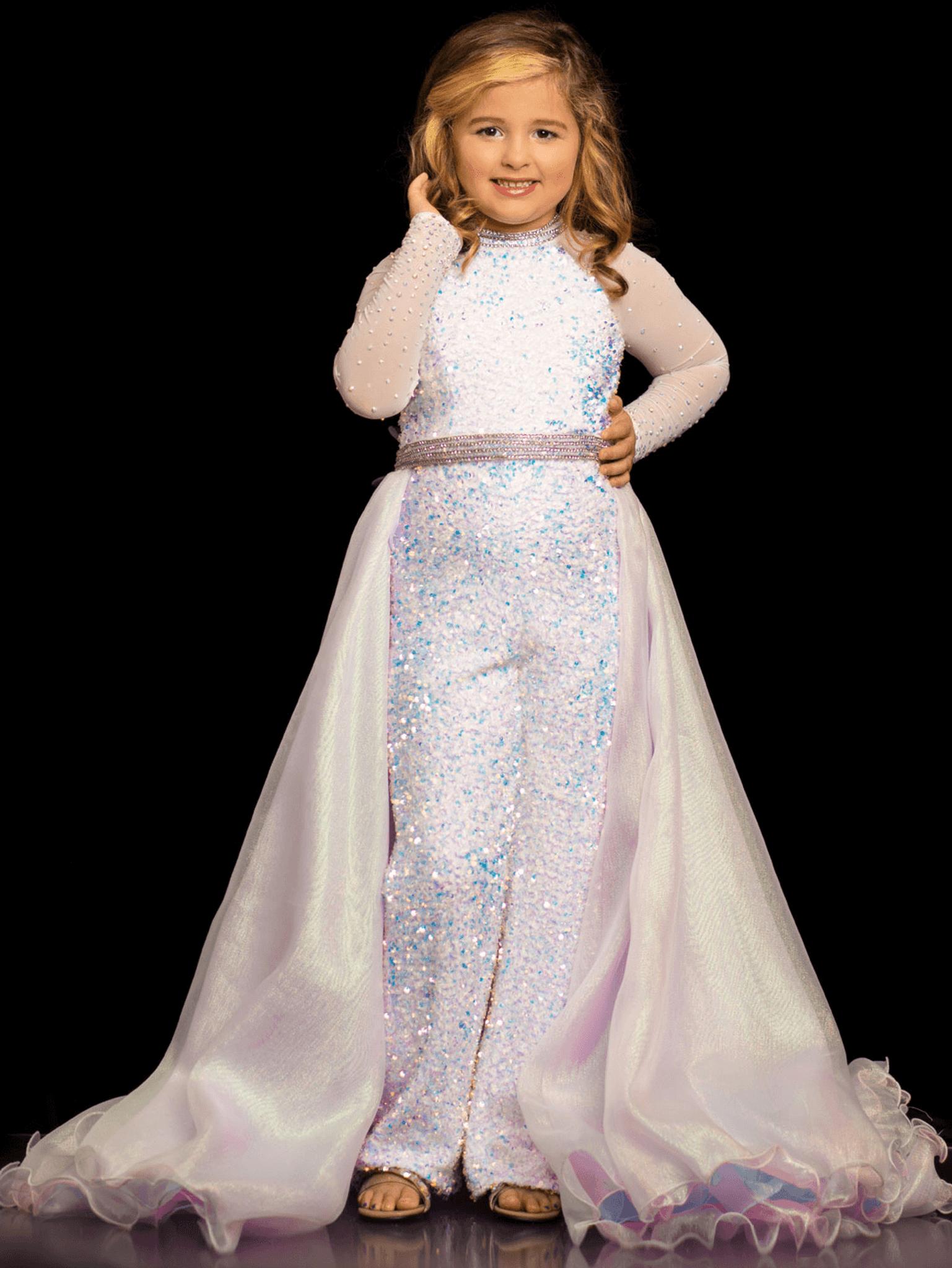 High Neckline Sugar Kayne C104 Pageant Dress PageantDesigns