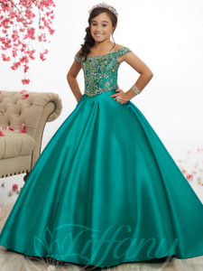 Mikado Pageant Gown by Tiffany Princess 13516