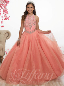 Beaded Tulle Pageant Gown by Tiffany Princess 13518