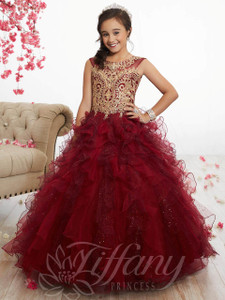 Ruffled Organza Pageant Gown by Tiffany Princess 13520