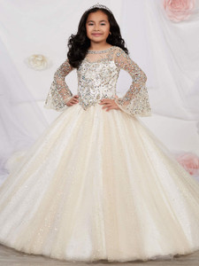 champagne long sleeves pageant dress for girls tiffany princess 13531