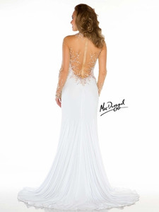 Sheer Sleeves High Neckline Pageant Dress Mac Duggal 76359P