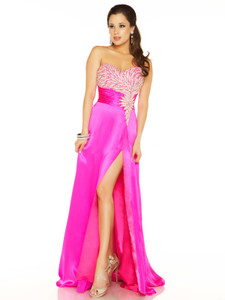 fuchsia empire waist pageant dress by mac duggal 81632p
