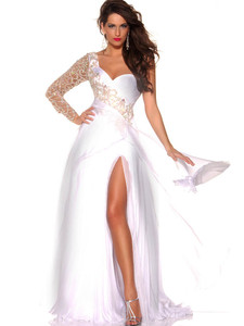 silk one shoulder sleeved mac duggal pageant collection dress 42575P