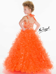 tangerine pageant dress little girls on sale size 6 by mac duggal 4996S