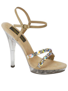 Taupe strappy stoned pageant shoes Johnathan Kayne Austria 910
