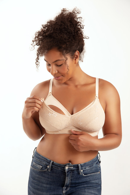 Parfait Wireless Maternity Bra with Lace Trim Rain P5842