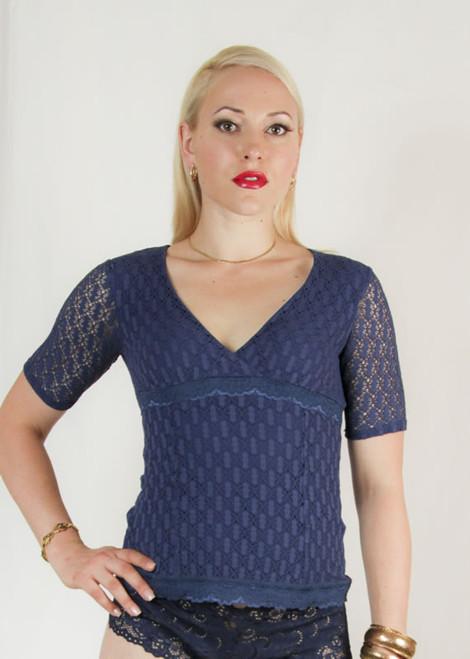Arianne Short Sleeve V-Neckline Crochet Knit Top 9887