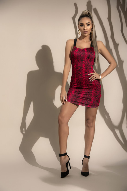 Mapale Dress With Snake Pattern and Lace-Up detailing 4528
