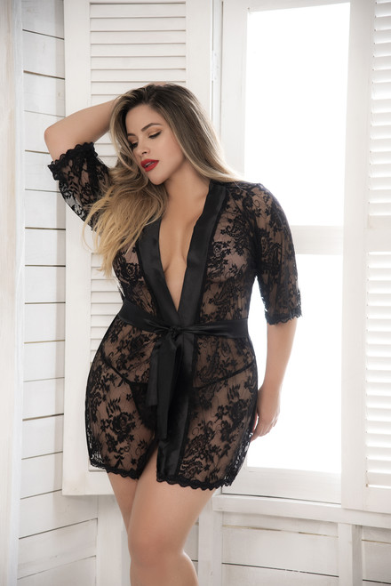Mapale Short Lace Robe with Satin Collar and G-String 7115