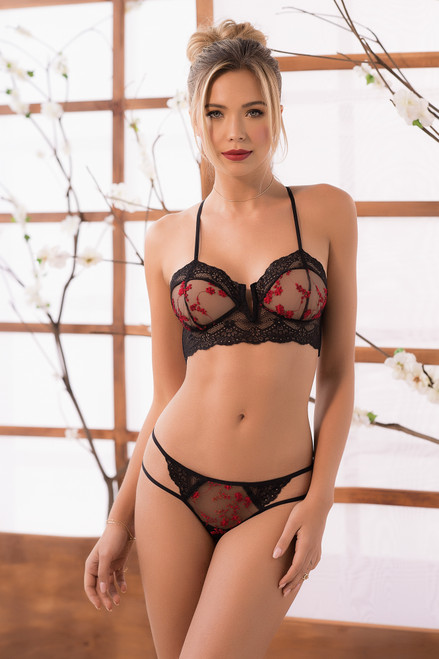 Mapale Two Piece Contrasting Lace Lingerie 7202