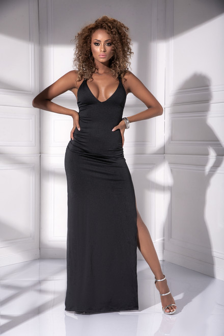 Mapale Deep V Neckline with Crisscross Straps Long Dress Gown 4534