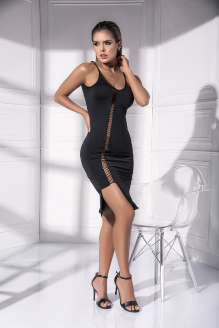 Mapale Dress with Lace Up Front Detail 4538