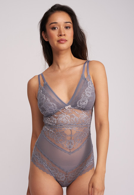 Montelle Silver Dreams Double Layer Triangle Mesh & Lace Bodysuit 9093