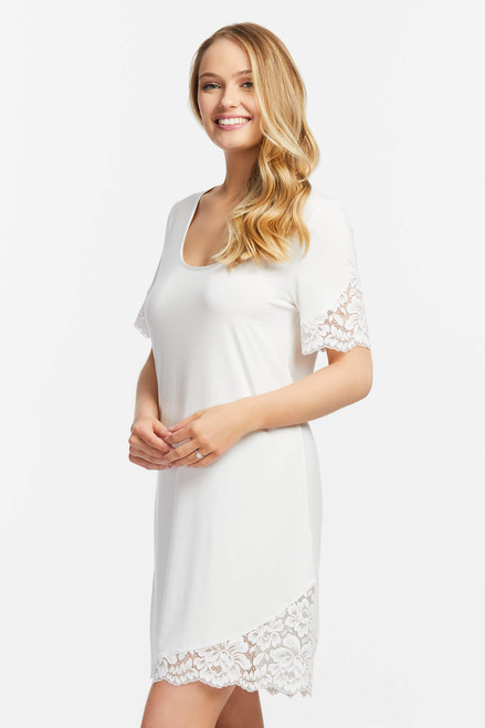 Fleur't Everlasting Silk Bridal Nightshirt with Asymmetric Lace Hem 6014