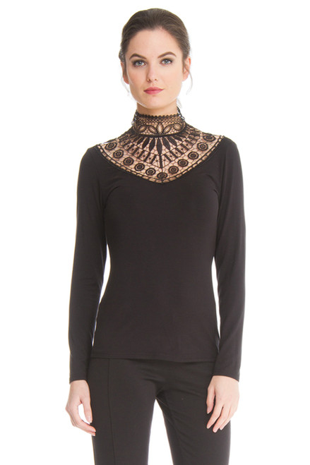 Arianne Teri Sleeveless Knit Top with Neckline Appliqué and Back Button Closing 9757
