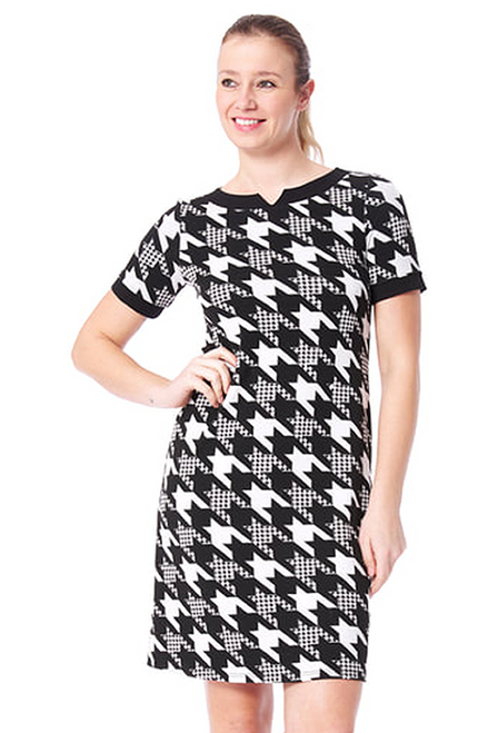Arianne Oxford Houndstooth Short Sleeve Dress 8071