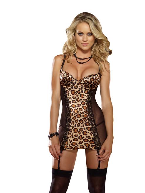 Dreamgirl Leopard print satin underwire garter slip 7933