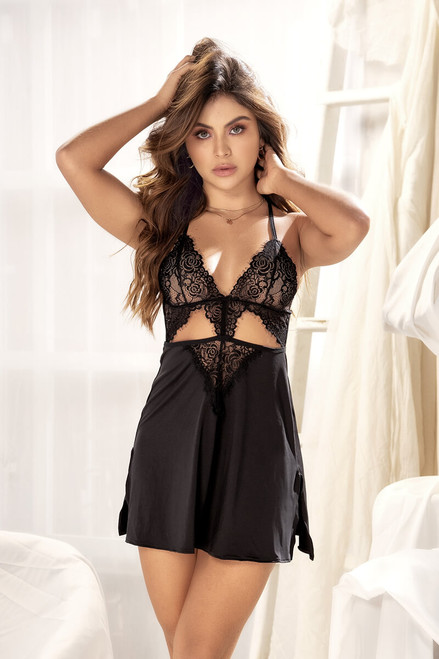 Mapale Babydoll with Lace Bodice And Matching G-String 7344