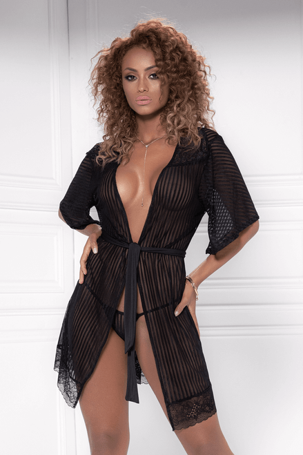 Mapale Short Sheer Mesh and Lace Robe with G-String 8478