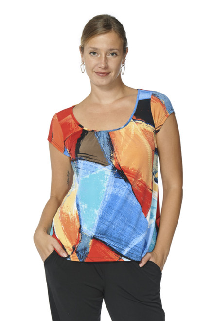 Arianne Multi-Color Short Sleeve Round-Neck Top Devika 7508