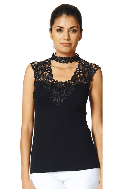 Arianne Teri Top with Intricate Lace Appliqué 5724