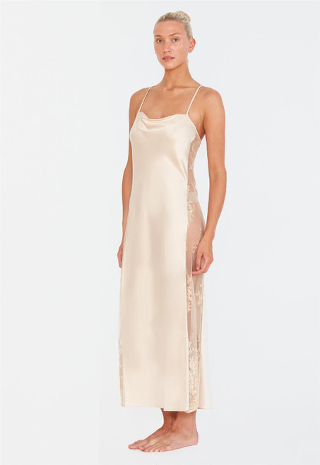 Rya Darling Lace Embroidery  Charmeuse Gown 219