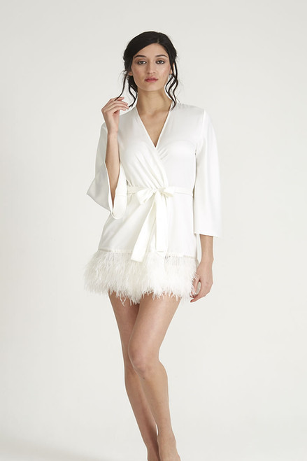 Rya Collection Charmeuse Swan  Cover Up with Ostrich Feathers 394