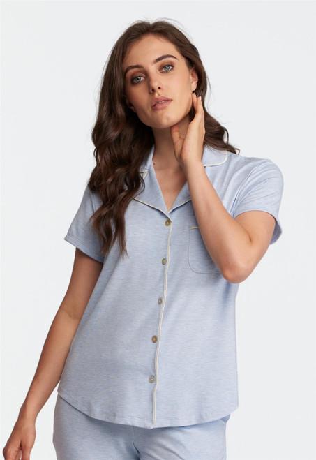 Lusomé  Cotton Cap Sleeve Donna Button Down Shirt LS18-211S