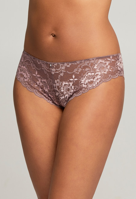 9001 Montelle Low Rise Semi Sheer Lace Brazilian Panty