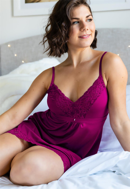 Montelle Lace And Microfiber Chemise with Integrated Support 9394