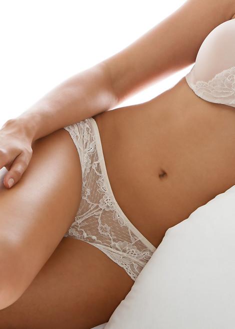 Montelle Semi-sheer Low Rise Lace Brazilian Panty  9185